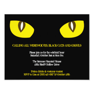 Large yellow cat eyes stare black Halloween party Card