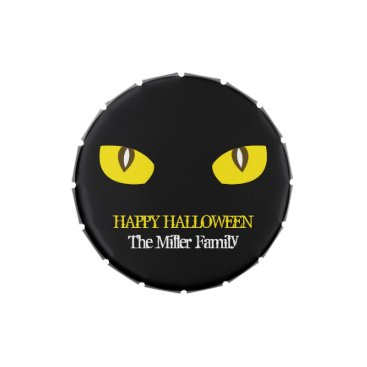 Halloween Themed Large yellow cat eyes stare black Halloween party Jelly Belly Candy Tin