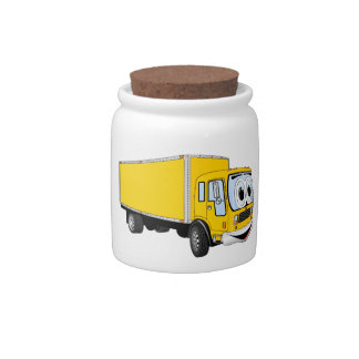 Large Yellow Delivery Truck Cartoon Candy Jar