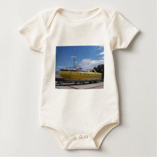 Large Yellow Powerboat Baby Bodysuit