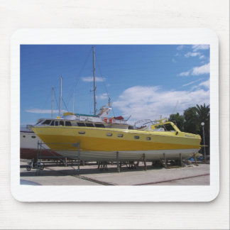 Large Yellow Powerboat Mouse Pad