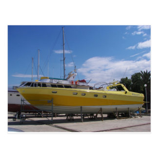 Large Yellow Powerboat Postcard
