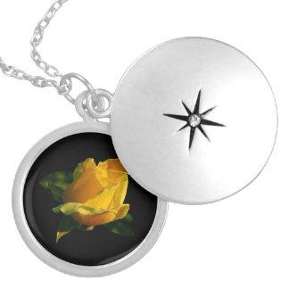 Large Yellow Rose Round Locket Necklace