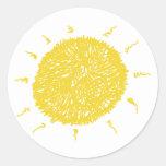 Large Yellow Sunshine Round Stickers
