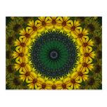 Large Yellow Wildflower Kaleidoscope Art 4 Postcard