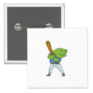 Largemouth Bass Baseball Player Batting Cartoon Button