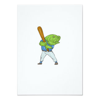 Largemouth Bass Baseball Player Batting Cartoon Card