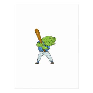 Largemouth Bass Baseball Player Batting Cartoon Postcard