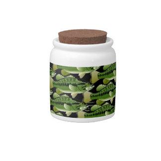 Largemouth Bass Camo Pattern on black Candy Jars