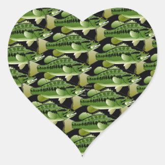 Largemouth Bass Camo Pattern on black Heart Sticker