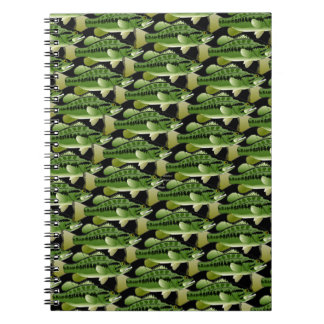 Largemouth Bass Camo Pattern on black Spiral Notebook