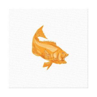 Largemouth Bass Diving Drawing Canvas Print