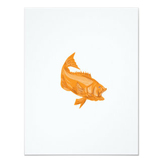 Largemouth Bass Diving Drawing Card