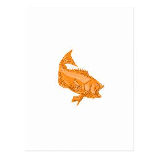Largemouth Bass Diving Drawing Postcard