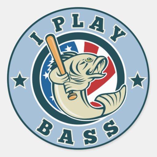Largemouth Bass fish baseball bat Round Stickers