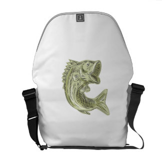 Largemouth Bass Fish Etching Courier Bags