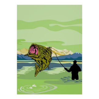 Largemouth Bass Fish Fly Fisherman Fishing rod Print