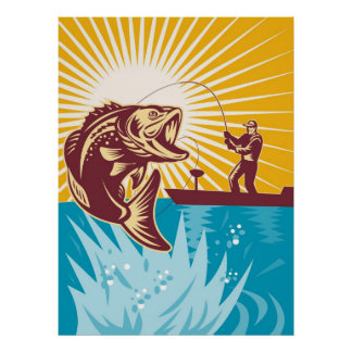 Largemouth Bass Fish Fly Fisherman Fishing rod Posters