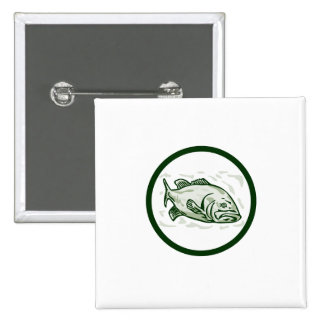 Largemouth Bass Fish Front Side Circle Cartoon 2 Inch Square Button
