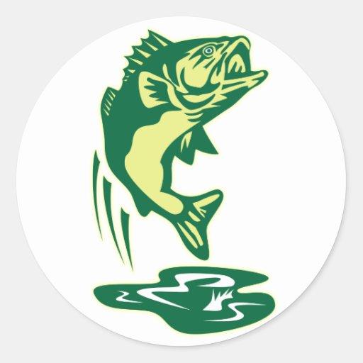Largemouth Bass fish jumping Classic Round Sticker