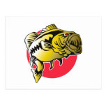 Largemouth Bass fish jumping Post Card