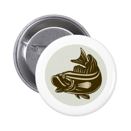 Largemouth bass fish jumping side view buttons
