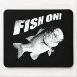 Largemouth bass fish on mouse pads