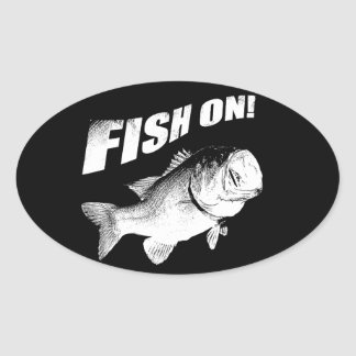 Largemouth bass fish on oval sticker