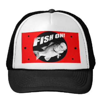 Largemouth bass fish on trucker hat