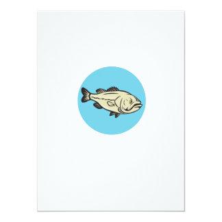 Largemouth Bass Fish Side Circle Cartoon Card
