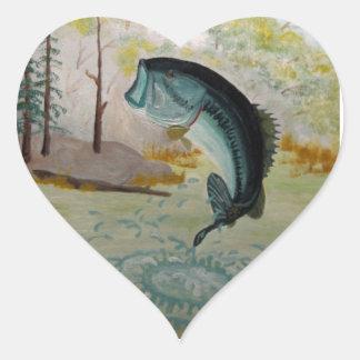 Largemouth Bass Heart Sticker