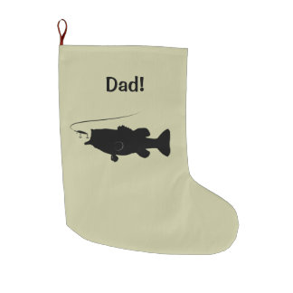 Largemouth Bass in Silhouette Name Customizable Large Christmas Stocking
