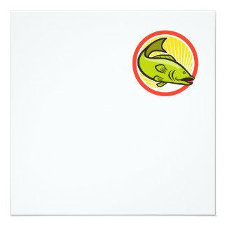 Largemouth Bass Jumping Cartoon Circle Card