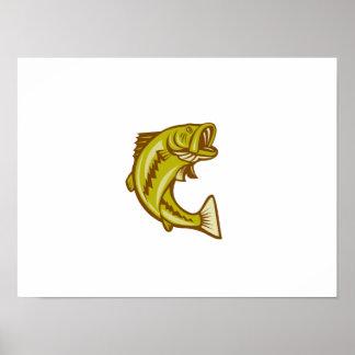 Largemouth Bass Jumping Cartoon Print