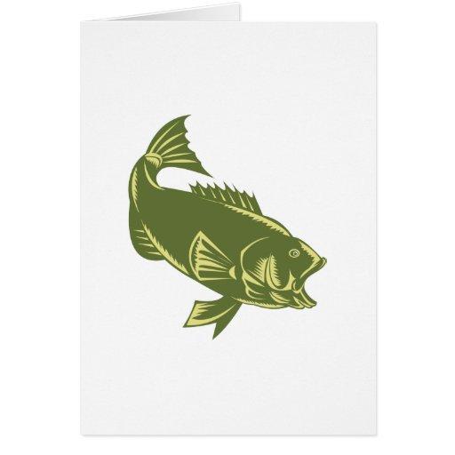 largemouth bass jumping greeting card