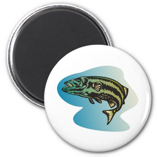 largemouth bass jumping retro 2 inch round magnet
