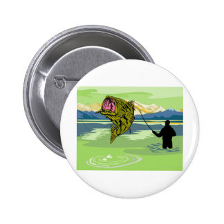largemouth bass jumping retro button