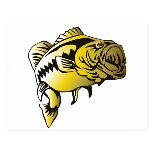 largemouth bass jumping retro post cards