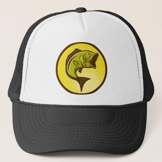 largemouth bass jumping trucker hat