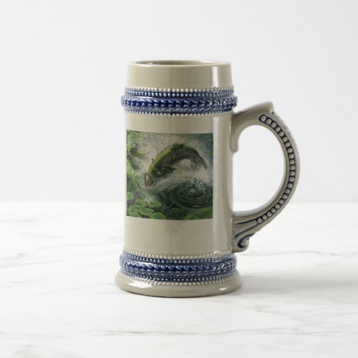 largemouth_bass_print, Boys WorkWhile Real MenG... 18 Oz Beer Stein