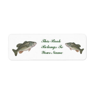 LARGEMOUTH BASS- RETURN ADDRESS LABELS-THIS BOOK LABEL
