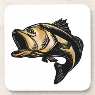 Largemouth Bass Scratchboard Beverage Coaster