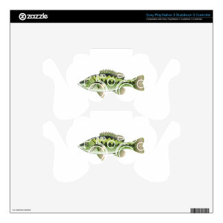 Largemouth Spotted Green American Bass Vector PS3 Controller Skins