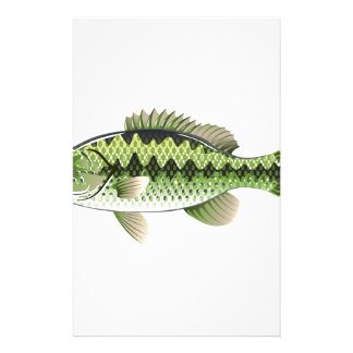 Largemouth Spotted Green American Bass Vector Stationery