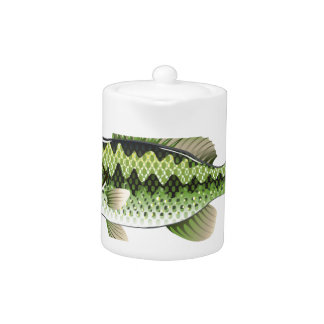 Largemouth Spotted Green American Bass Vector Teapot