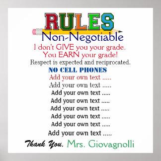 Larger Version #2 Teacher Classroom Rules Poster