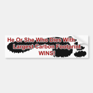 Largest Carbon Footprint Wins Bumper Stickers