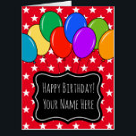 "Largest oversized Birthday balloons greeting card<br><div class=""desc"">Largest oversized Birthday balloons greeting card. Enormous Happy Birthday card colored balloons. Festive celebration design with stars and custom color background color. Fun personalized big card for dad, brother, uncle, father, friend, teacher, coach, nurse, boss, coworker, employee, retiree, mom, sister, wife, mother, girlfriend, aunt, bride, daughter, cousin, girl, sweet 16,...</div>"