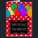 """Largest oversized Birthday balloons greeting card<br><div class=""""desc"""">Largest oversized Birthday balloons greeting card. Enormous Happy Birthday card colored balloons. Festive celebration design with stars and custom color background color. Fun personalized big card for dad, brother, uncle, father, friend, teacher, coach, nurse, boss, coworker, employee, retiree, mom, sister, wife, mother, girlfriend, aunt, bride, daughter, cousin, girl, sweet 16,...</div>"""