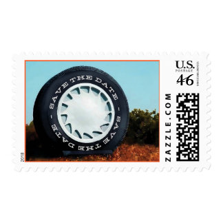 Largest Tire in the World Save the Date Stamp